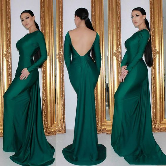 Open Back Simple Green Prom Dresses S20958