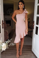 One Shoulder Neckline Sheath/Column Homecoming Dresses With Bowknot S23203
