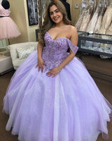 Off The Shoulder Lilac Prom Dress  S16897
