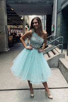 Blue one shoulder tulle lace short prom dress blue lace homecoming dress  S13773