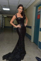 Charming Black Spaghetti Straps Long Mermaid Prom Dress S17864