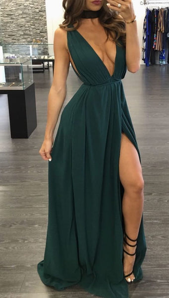 Sexy V Neck Prom Dresses With Split Side S16364