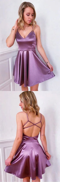 Simple purple v neck satin short homecoming dress S13763