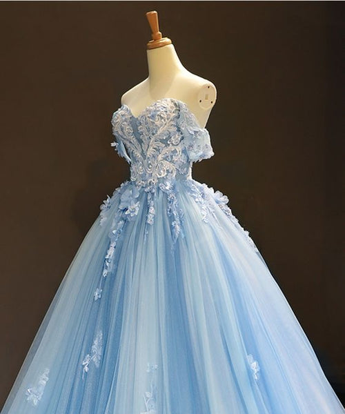 Sky Blue Tulle Off Shoulder Sweetheart Neck Long Lace Applique Senior Prom Dress S15735