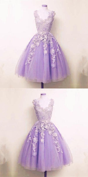 Appliques Homecoming Dress Lilac Tulle Lace Appliques A-line Short Homecoming Dress  S22799