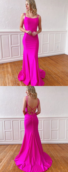 Simple Double Spaghetti Straps Fuchsia Mermaid Satin Prom Dress S16693