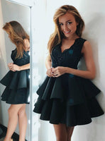 A-Line V-Neck Dark Green Satin Tiered Homecoming Dress with Appliques  S13564