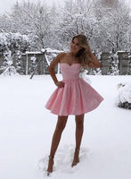 Pink sweetheart neck satin short prom dress, evening dress S493