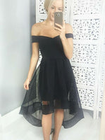 Black Homecoming Dresses,High Low Homecoming Dress,Off the Shoulder Homecoming Dress S494
