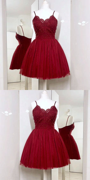 Spaghetti Straps A-Line Burgundy Tulle Short Prom Dress with Lace S499
