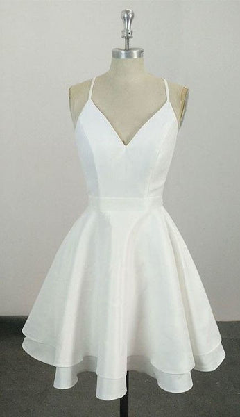 Knee Length Spaghetti Straps White Homecoming Dress,Short Party Dress  S49