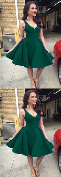 Short green Satin V-neck Ball Gowns Homecoming Party Dress S503
