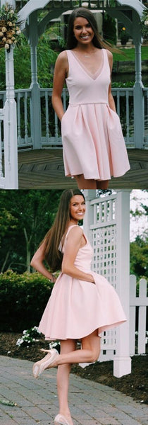 A-Line V-neck Above-Knee pink Homecoming Dress with Pockets S509