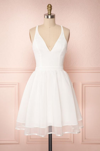White Homecoming Dress,Short Party Dress  S50