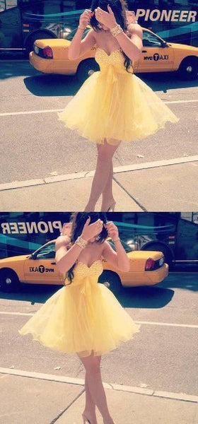 Yelllow Homecoming Dress,Homecoming Dress,Short Prom Dress S515