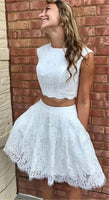Two Piece Crew Above-Knee White Lace Homecoming Dress with Pockets  S51