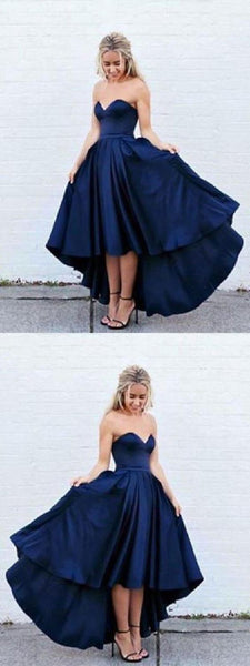 Cheap Morden High Low Prom Dress, Homecoming Dresses Blue, Prom Dress Plus Size, Homecoming Dresses Short S527
