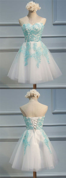 A-Line Sweetheart Lace-Up Short Homecoming Dress with Blue Appliques S534