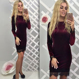 Sexy Fashion Velevet Lace Long Sleeve Bodycon Knee-Length Homecoming  Dress S537