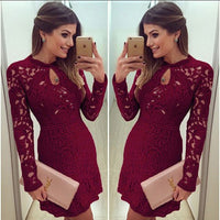 Sexy Women Casual Dress Evening Cocktail Lace Long Sleeve Bodycon Mini Short Homecoming Dress  S539
