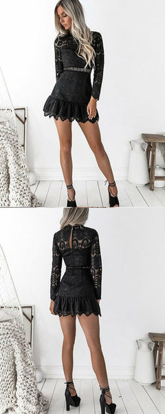 High Neck Black Lace Short Homecoming Dress with Long Sleeves S544