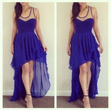 High Low Prom Dresses,Chiffon Prom Dress,Royal Blue Prom Gown Homecoming  Dress  S548