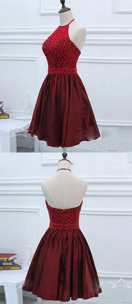 Satin Halter Short Burgundy Homecoming Dress with Beadings, Knee Length Formal Dress  S550