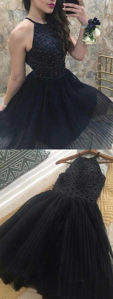 A-Line Halter Knee Length Navy Blue Tulle Homecoming Dress with Beading  S553