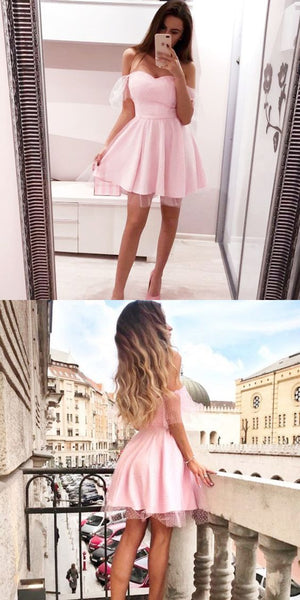 A-Line Off the Shoulder Sleeveless Pink Short Homecoming Dress  S555