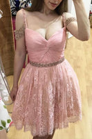 Homecoming Dresses,Lace Homecoming Gowns,Short Prom Gown,Pink Sweet 16 Dress,Homecoming Dress S557