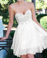 Custom Made White Sweetheart Neckline Chiffon A-Line Homecoming Dress With Crystal Beading S558