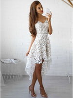 High Low Spaghetti Straps Gorgeous White Lace Homecoming Dress  S55