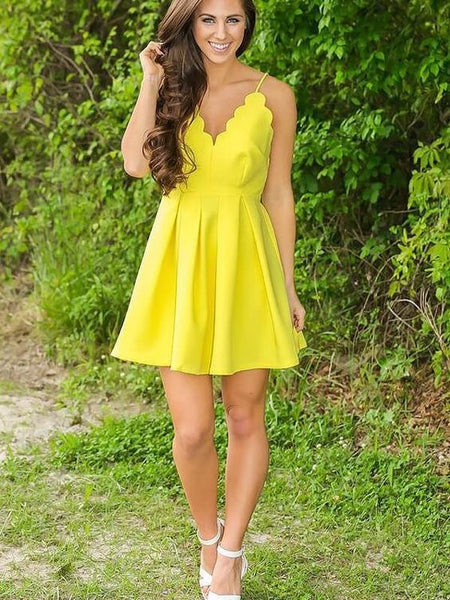 A-Line V-neck Sleeveless Short With Ruffles Prom Dresses S562