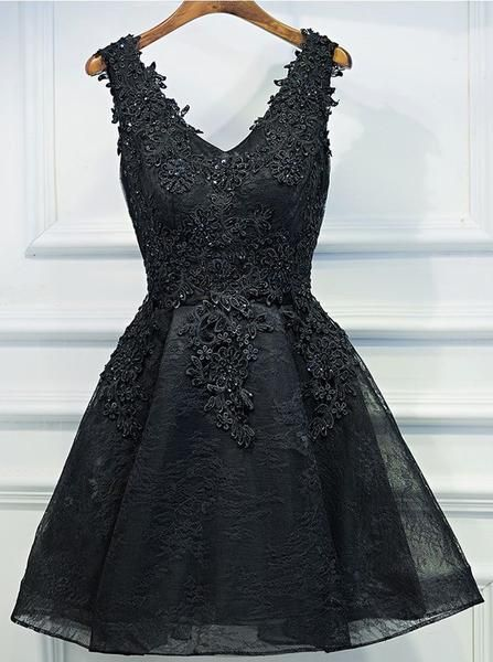 Black Homecoming Dresses,Lace Homecoming Dress,Little Black Dresses,Short Homecoming Dress S567