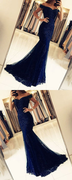 Off The Shoulder Prom Dresses Lace Mermaid V-neck Evening Gowns S5712