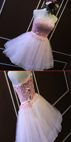 Newest Pink Short Homecoming Dresses With Appliques,Lace Strapless Homecoming Dresses  S571
