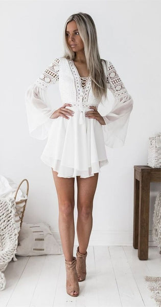 A-Line V-neck Bell Sleeves Short White Homecoming Party Dress with Lace  S572