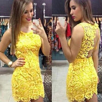 Backless Pure Yellow O-neck Lace Sleeveless Dress  S576