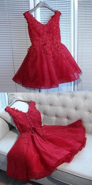A-Line V-Neck Red Tulle Sleeveless Homecoming Dresses With Appliques S579