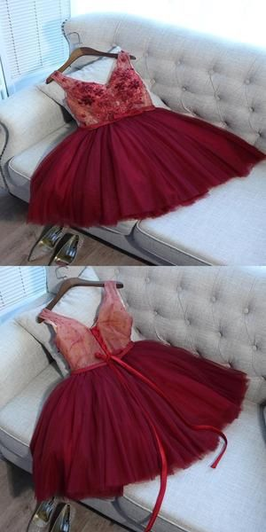 A-Line V-Neck Tulle Red Two Straps Homecoming Dresses S581