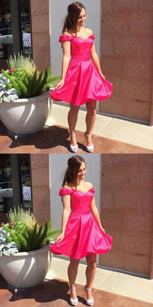 Off Shoulder Homecoming Dresses,Sweetheart Stain Short Prom Dress,Party Dress  S587
