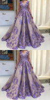 A-Line Scoop Sleeveless Lavender Tulle Prom Dress With Appliques   S5911