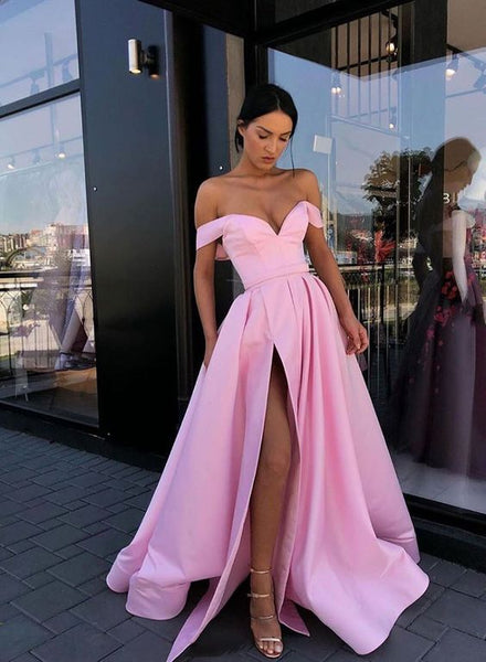 Simple A Line Off the Shoulder Pink Prom Dresses with Split Front S5913