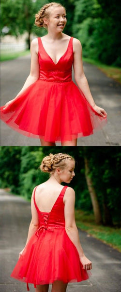 Simple V Neck Straps Red Homecoming Dress S5919