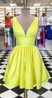 Princess V Neck Short Yellow Homecoming Dress with Pockets S591