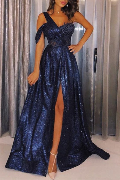 Navy Blue One-Shoulder Sequins Prom Dresses ,Sexy A-Line Side-Slit Cheap Evening Gowns  S5920
