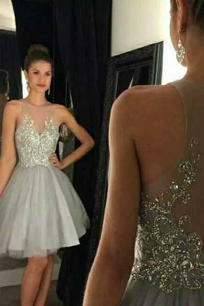 Custom Made Tulle Beading Homecoming Dress Short A-Line Party Dress   S5931