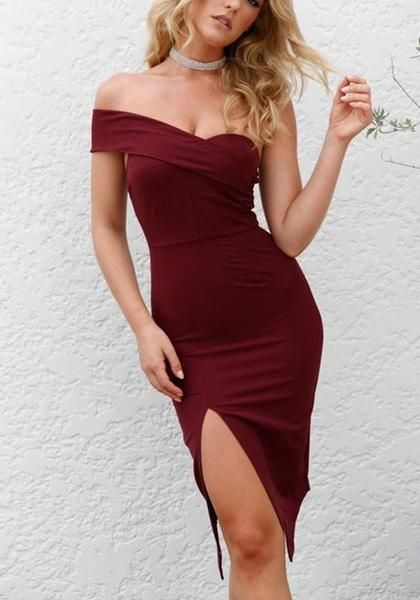 Asymmetric Shoulder  Irregular Midi  Homecoming Dress S5932