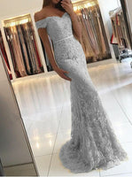Mermaid Off-the-Shoulder Sweep Train Light Grey Lace Appliques Prom Dress  S5938
