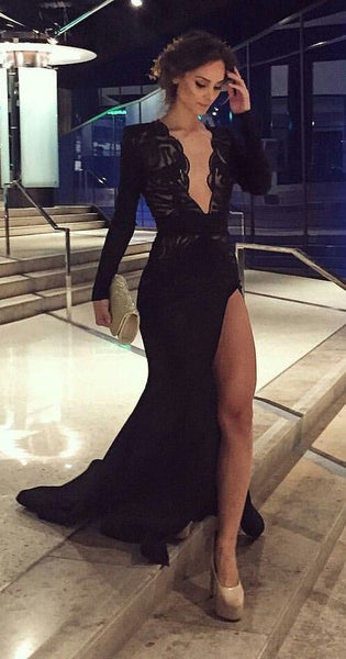 Elegant  Black   Long Sleeves Prom Dresses, Deep V Neck  Lace  Prom Dress  S5940